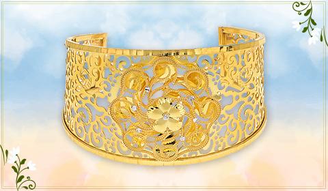 floral design bangle bracelet in 22k gold