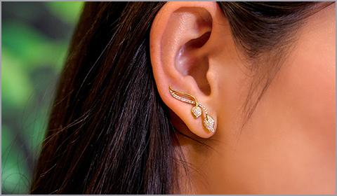 diamond ear crawlers for women