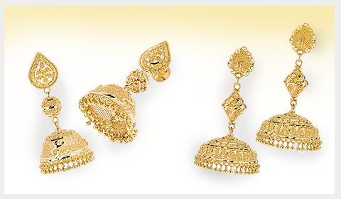 filigree gold jhumkas in 22k gold