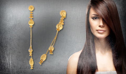 earrings for side parting long hair