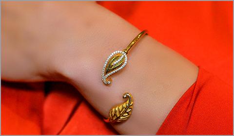 leaf bangle wrap bracelet