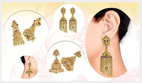 south indian design gold jhumkas