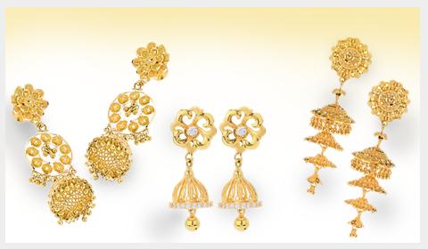 contemporary gold jhumka designs