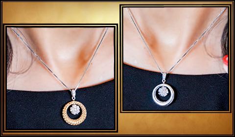 Reversible diamond pendant and earrings